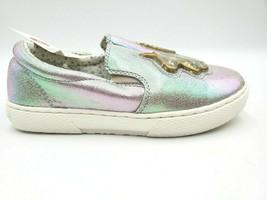 Cat & Jack Silver Iridescent Gold Unicorn Roana Girls Kids Slip-on Shoes NWT image 2