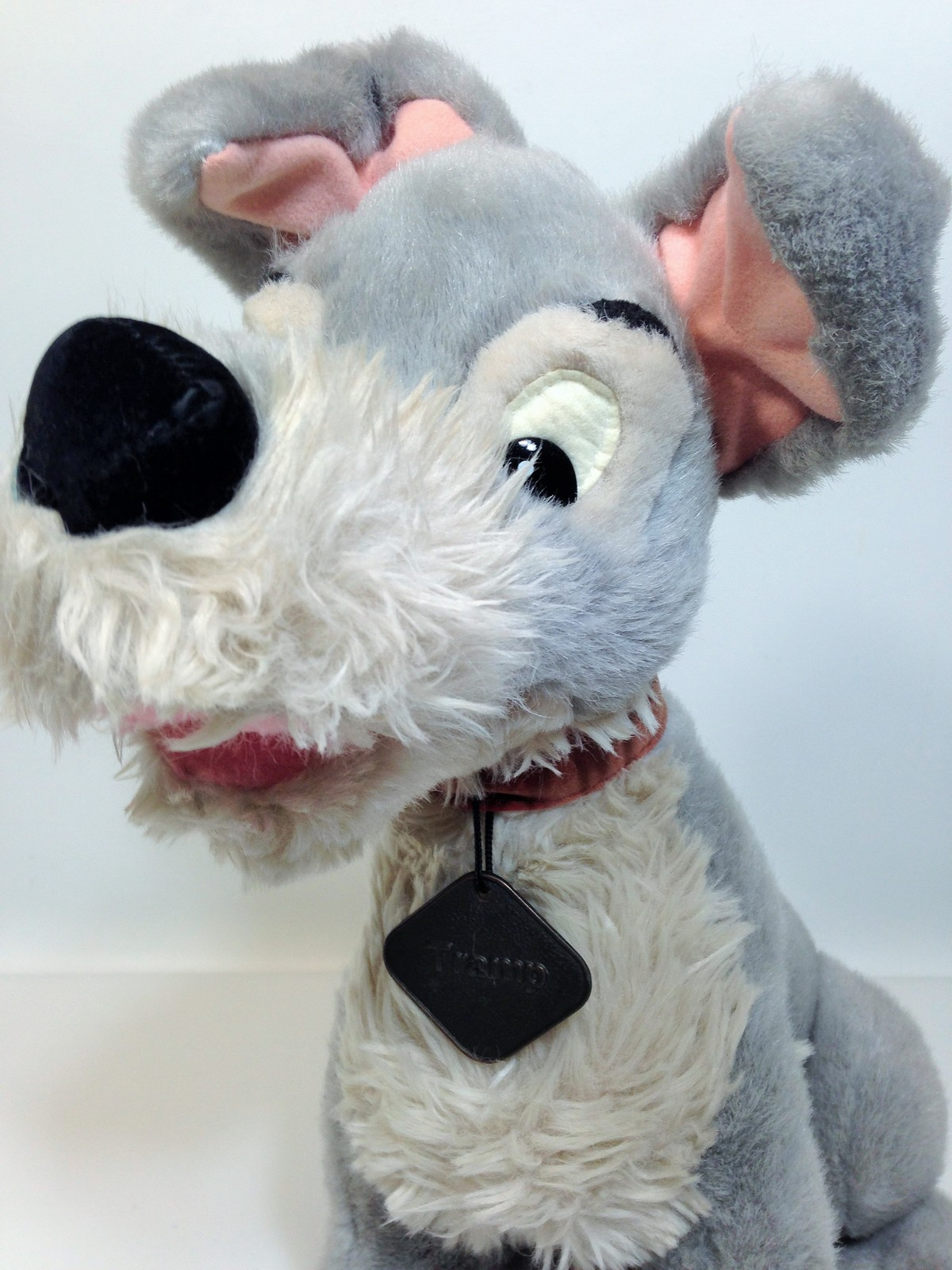 "Vintage Disney Tramp Plush Dog Grey Stuffed Animal Metal DogTag 14"" image 3"