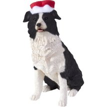 Sandicast Border Collie with Santa Hat Christmas Ornament by Sandicast - $29.95