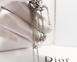 AUTHENTIC Christian Dior STAR CD LOGO CHARM Multi Chain Long Dangle Earrings image 6