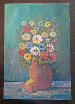Painting To oil On Board Style Impressionist Blossom Floral V - $68.84