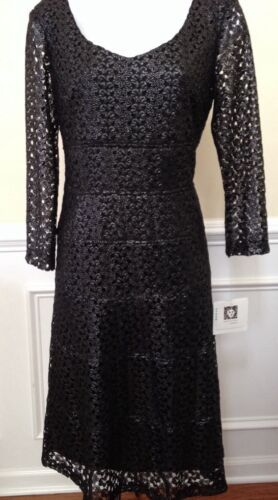 Primary image for Anne Klein Women's Cocktail Formal Lace Over Flare Black Silver Dress Sz 6 $139
