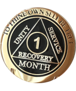 1 Month AA Medallion Elegant Black Gold & Silver Plated Sobriety Chip Coin - £11.72 GBP