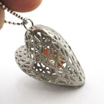Necklace Silver 925, Heart Convex, Satin, Perforated Pendant, Chain Balls image 6