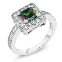 0.92 Ct Princess Green Mystic Topaz 925 Sterling Silver Ring - $67.18+