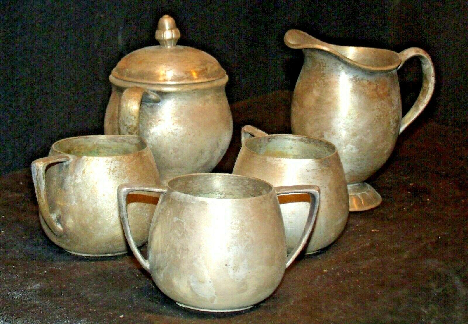 Quadruple Plated Silver Creamers & Sugar Bowls Vintage Empire Crafts AB 341