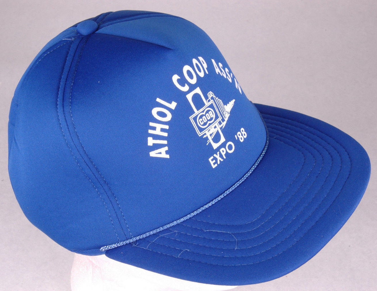 Vtg ATHOL COOP ASS'N Hat-Expo '88-Blue-Rope Bill-Snapback-Elevator-Kansas USA