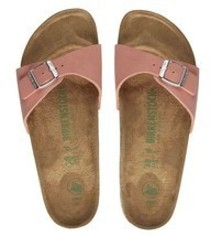 Birkenstock Women Madrid Brushed Flamingo Pink Vegan Narrow Flat Sandals... - £72.27 GBP