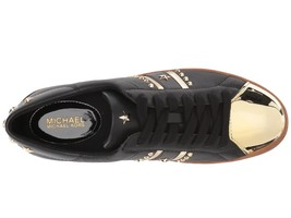 Michael Kors MK Women's Frankie Stripe Leather Sneakers Shoes Black/Pale Gold image 2