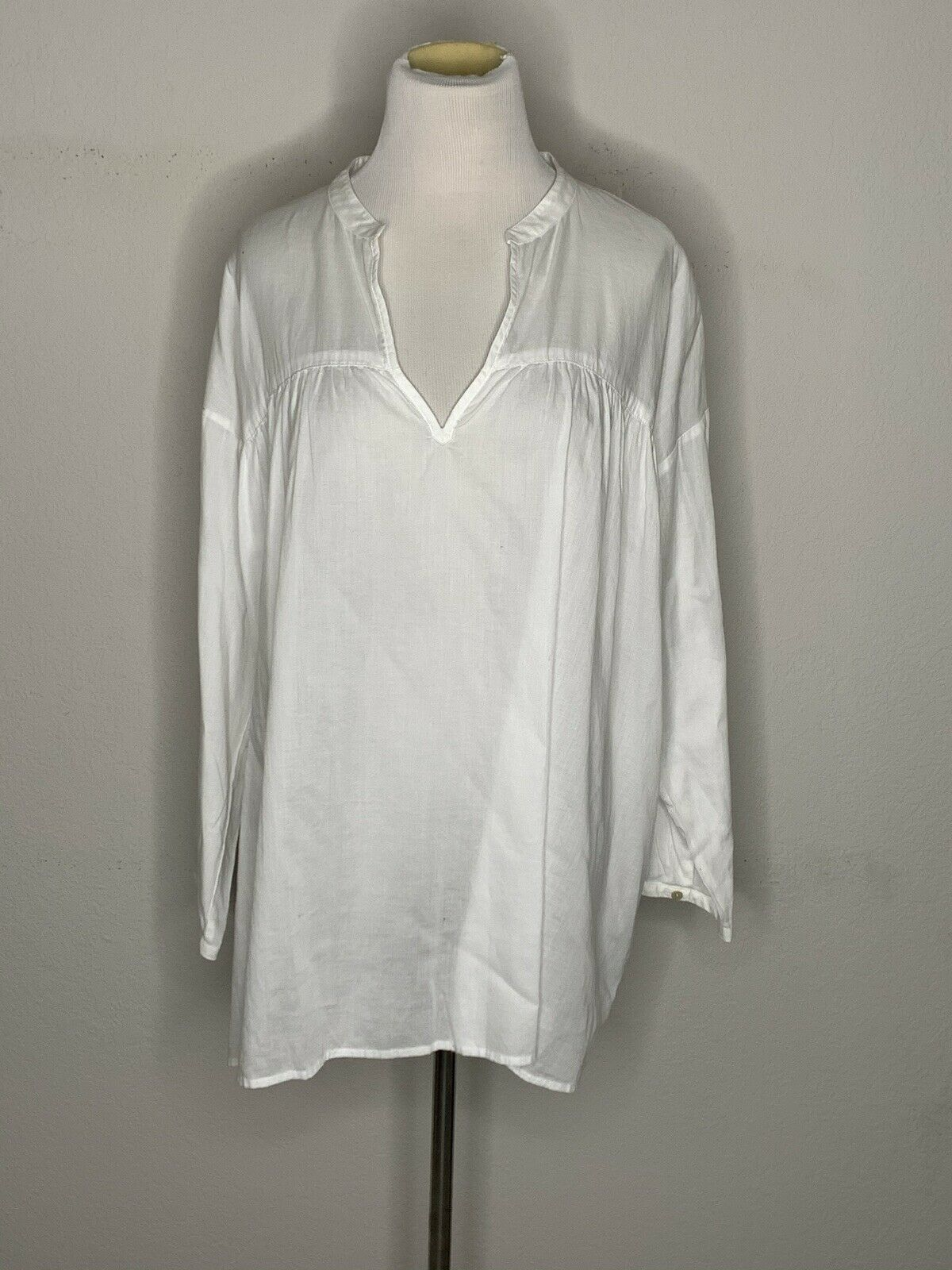 Primary image for Eileen Fisher Womens Organic Cotton Shirt Pullover Blouse V-Neck White Sz L