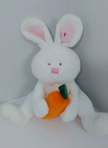 Ty Pluffies Plush Snackers white bunny rabbit holding carrot 2005 SOFT T... - $5.34