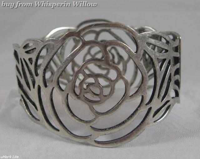 Silver cut out rose bracelet 1