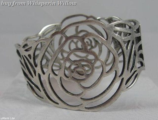 Silver Cut Out Rose Bracelet (Spring Loaded)