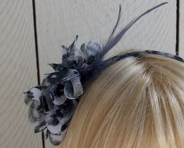 Blue Leopard Chiffon Feathered Headband