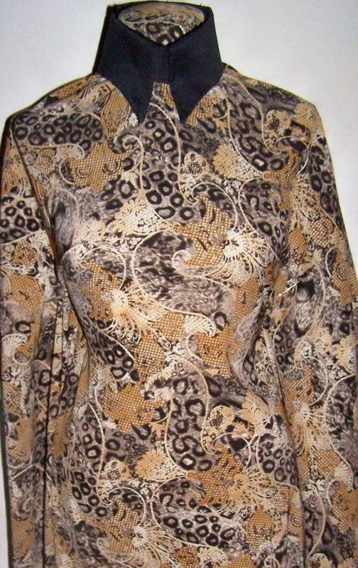Earthtone Leopard Paisley Polyester Twill Lycra Stretch Fabric 1 Yard 18 Inches