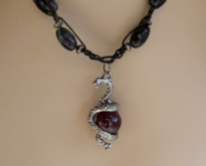 Silver Snake Coiled On Blood Red Ball Vintage Macrame Necklace