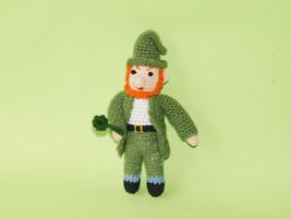Handmade crochet leprechaun - handmade knit stuff leprecon - knit leprek... - $15.93