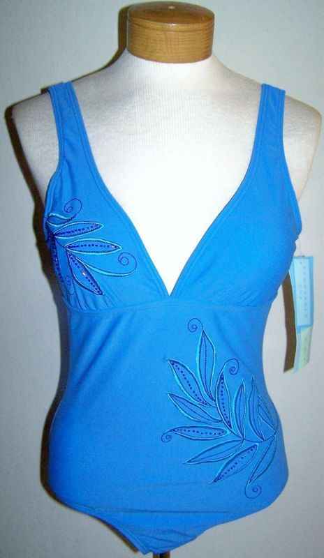 Primary image for GORGEOUS CARRIBEAN BLUE BEACH BAY BEADED EMBELLISHED SWIMSUIT SIZE 10