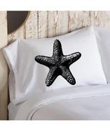 Black Starfish Nautical Pillowcase - $11.99
