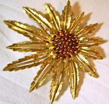 Sarah Coventry Gold Tone & Amber Pendant Brooch Pin, Vinta - $10.00