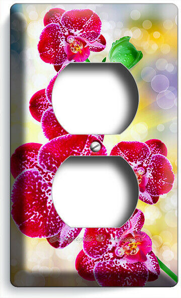 SPOTTED TROPICAL ORCHID FLOWERS OUTLET WALL PLATES FLORAL BEDROOM ROOM ART DECOR