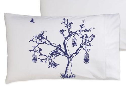 Navy blue tree pillowcase
