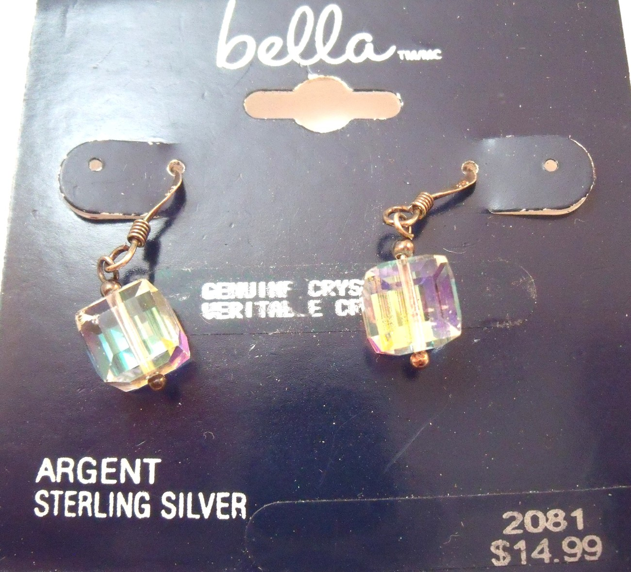 Five pairs of steling silver earrings NOS one with crystal cube dangles