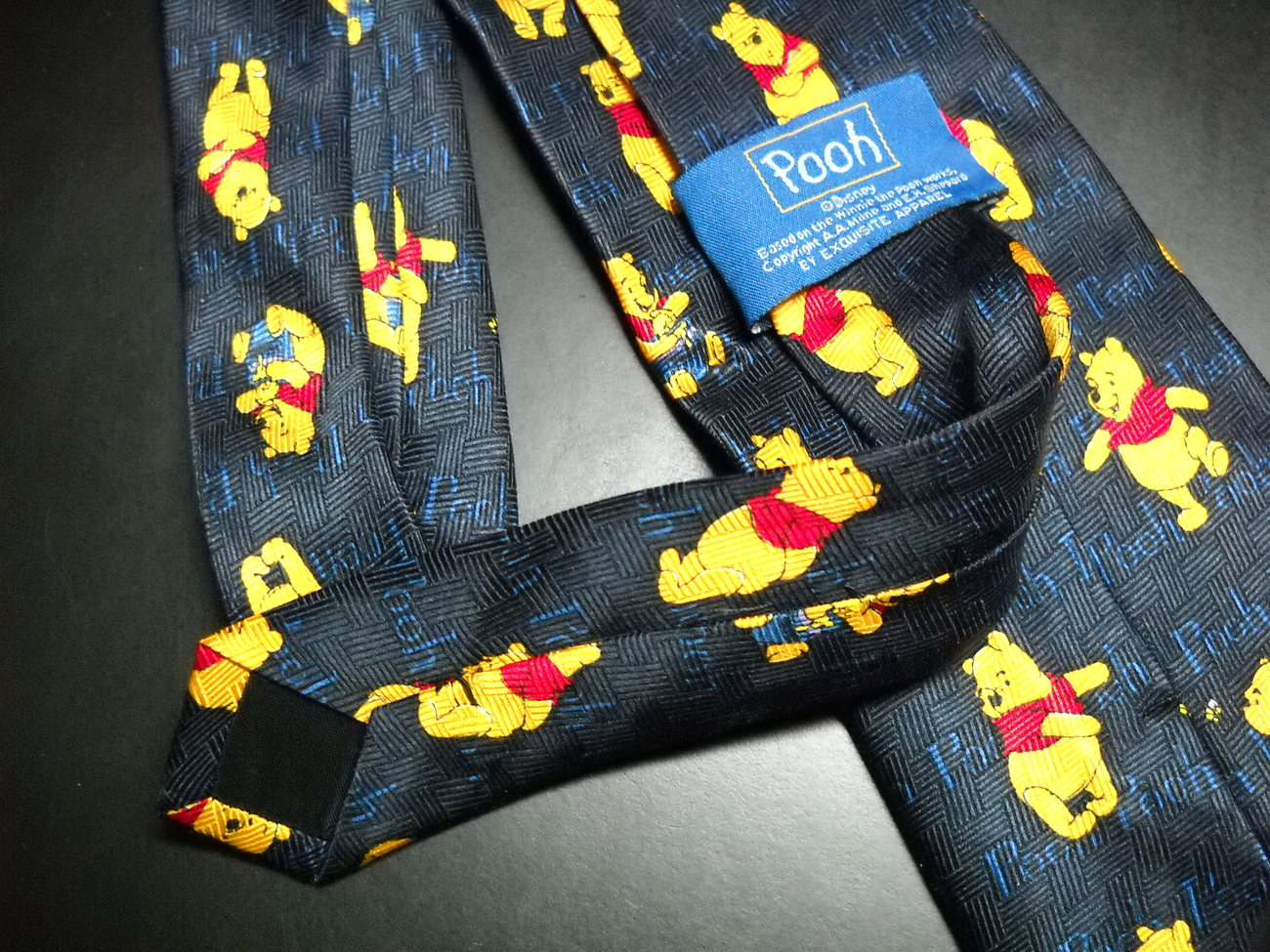 Disney Pooh Neck Tie Winnie the Pooh Repeats in Color on Dark Blue Background