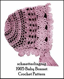 1905 Vintage Baby Bonnet Crochet Pattern Lacy Fancy  Gibson Girl Era Reenactment