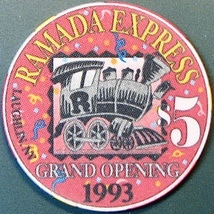 $5 Casino Chip, Ramada Express, Laughlin, NV. 1993, Grand Opening. O47. - $14.50