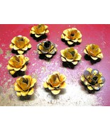 TEN metal yellow rose flowers for accents, embellishments, craftin  - $27.98