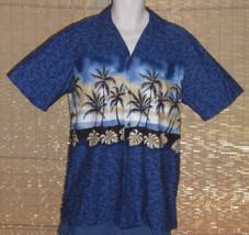 RJC Hawaiian Shirt Blue Black Tan Palm Trees Size Medium - $21.77