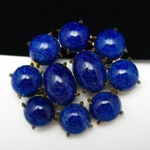 Vintage Rich Blue Art Glass Faux Lapis Brooch Pin Deco Era - $64.99