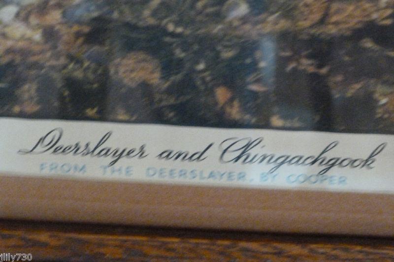 Antique Print Deerslayer & Chingachgook Fenmore Cooper