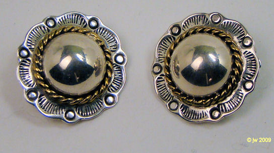 Taxco Sterling Brass Concho Clip Earrings