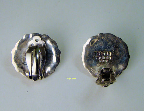 Taxco Sterling Brass Concho Clip Earrings