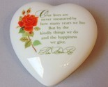 Heart Trinket Jewelry Treasure Box Poem Rose Keepsake Collection White Porcelain