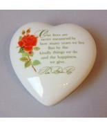 Heart Trinket Jewelry Treasure Box Poem Rose Keepsake Collection White Porcelain - £17.61 GBP