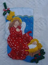 Finished Bucilla Watching Over Me Christmas Stocking From Kit #85105 - 18 In Com - $149.99