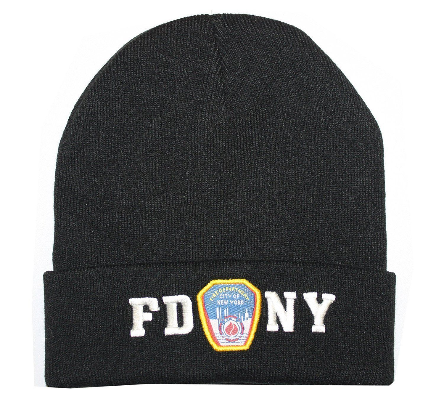 FDNY Winter Hat Police Badge Fire Department Of New York City Black & White O... - $13.98