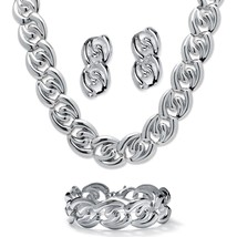 "Silvertone Curb-Link Necklace, Bracelet and Earrings Set 18"" - $12.50"