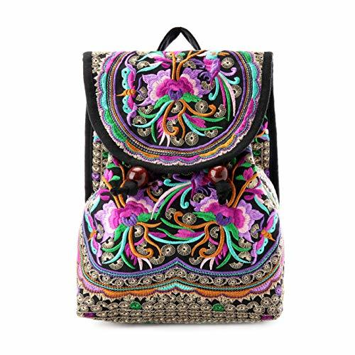 Mazexy Handmade Embroidered Backpack Ethnic Style Vintage Printed