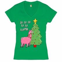 Fa La La La La Llama Women's V-Neck T-shirt Christmas Naughty or Nice Xm... - $13.97+