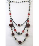 Beautiful black red silver heart shape beads 3 swing layers long necklac... - $13.99