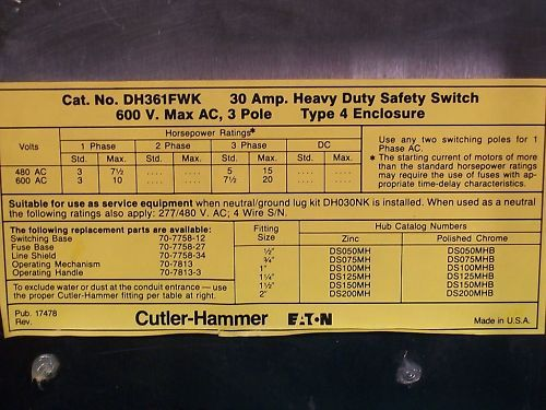 Cutler Hammer SS Disconnect Type 4   DH361FWK 30A