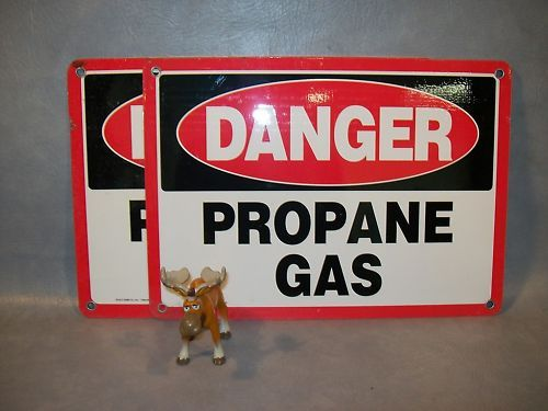 """DANGER PROPANE GAS""  Metal Emedco Sign 43142  Lot of 2"