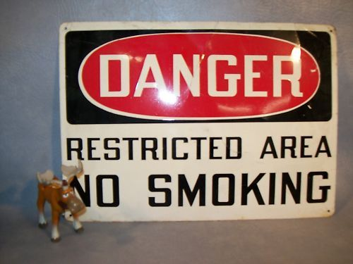 """DANGER RESTRICTED AREA NO SMOKING"" Sign"