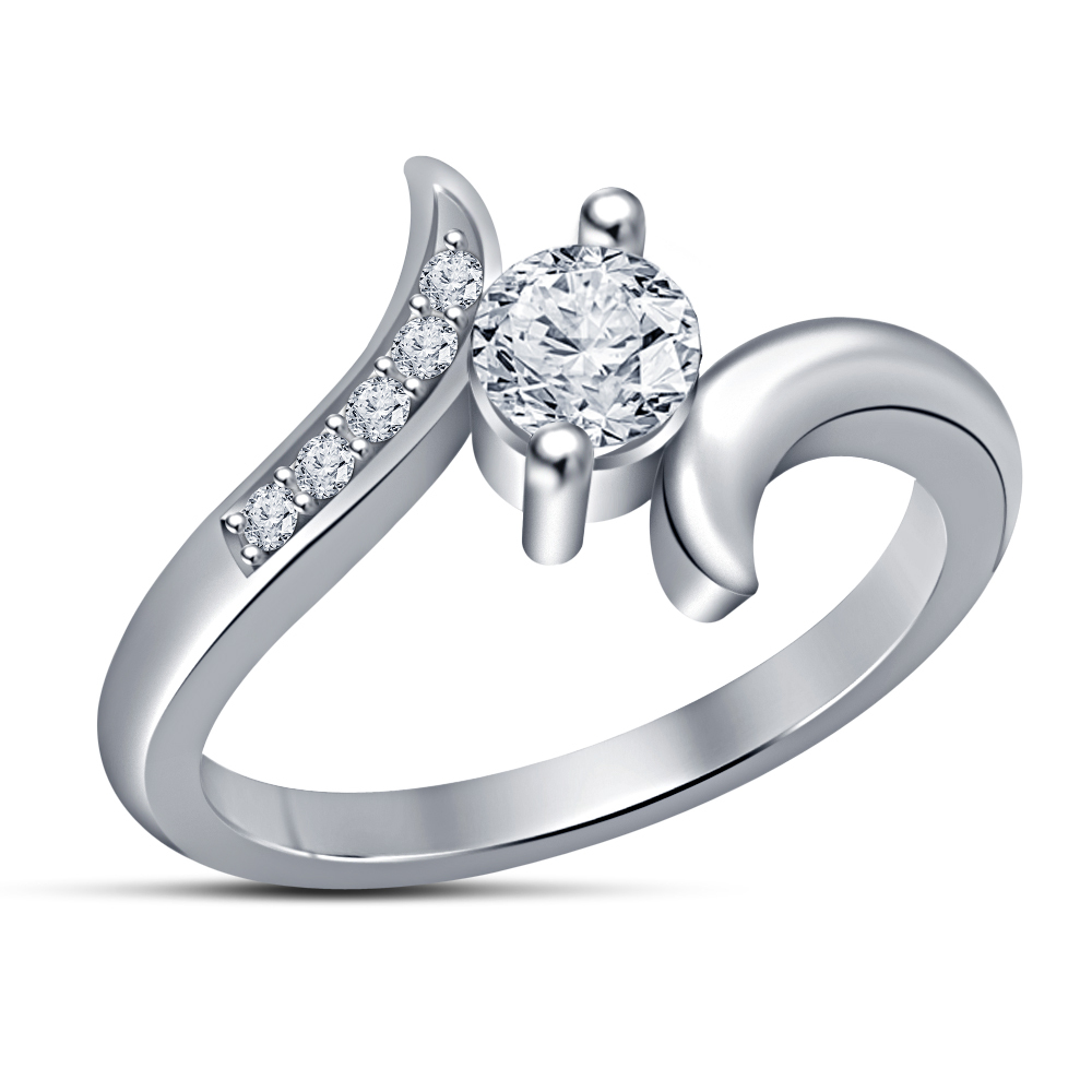 Primary image for Full 14k White Gold Plated White Sim Diamond Charming Engagement Ring