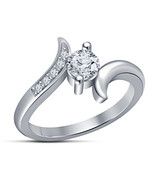 Full 14k White Gold Plated White Sim Diamond Charming Engagement Bridal... - $4.99
