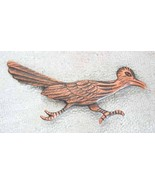 Copper Roadrunner Brooch 60s Art Moderne - $17.95